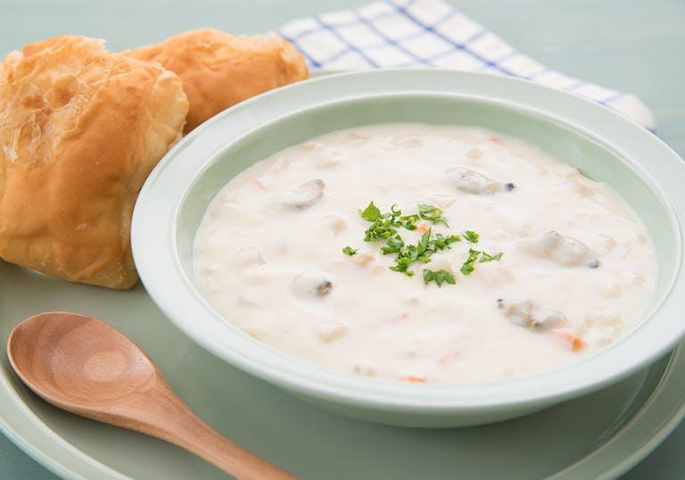 a bowl of clam chowder