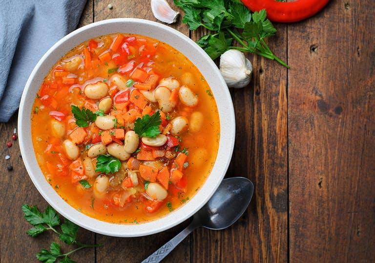 a bowl of navy bean soup