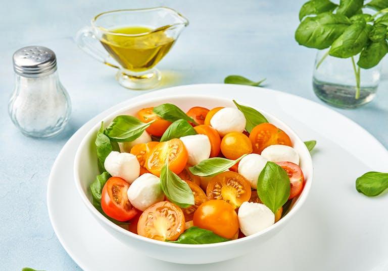 a small Caprese salad in a bowl