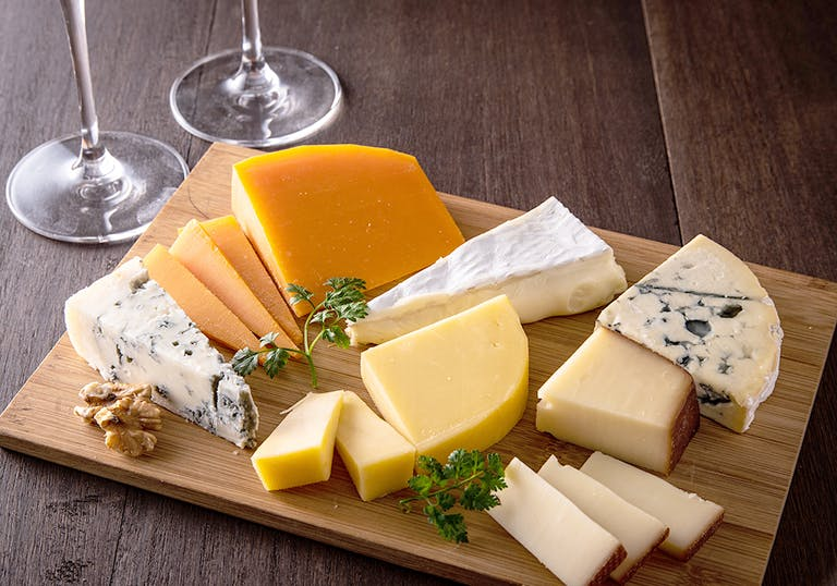 a board of various cheeses