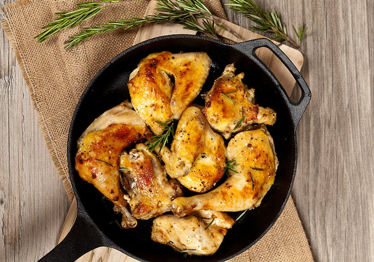 cooked chicken in a pan