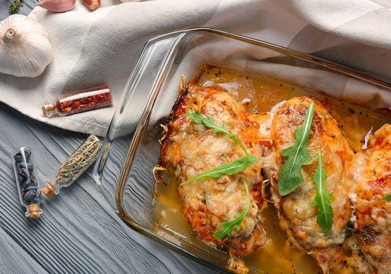 Chicken Parmesan in glass bakeware