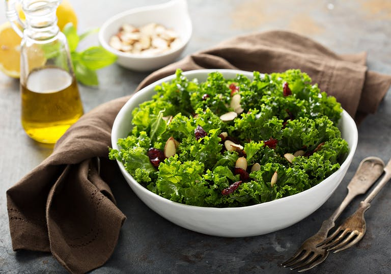a small kale salad in a bowl