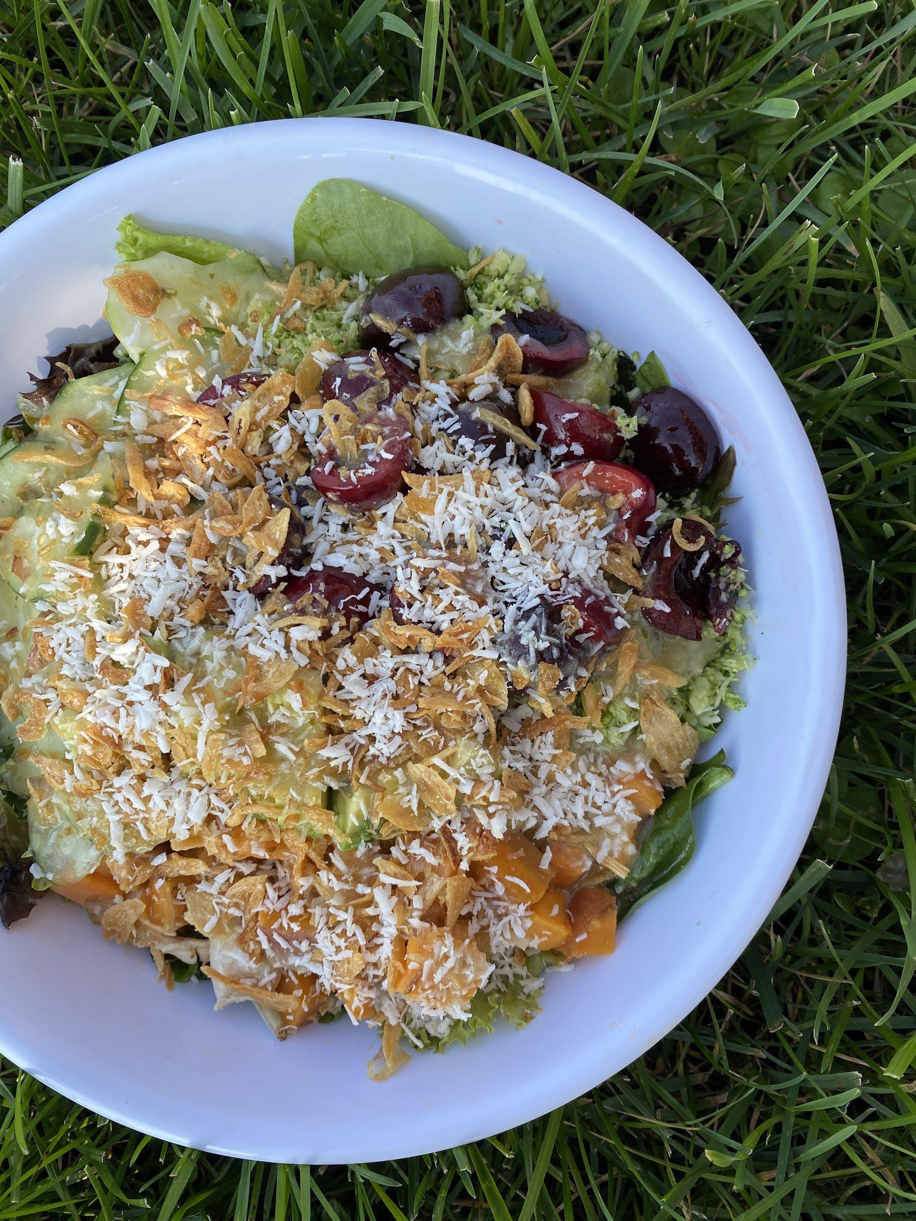 seasonal summer salad. rice bowl of food