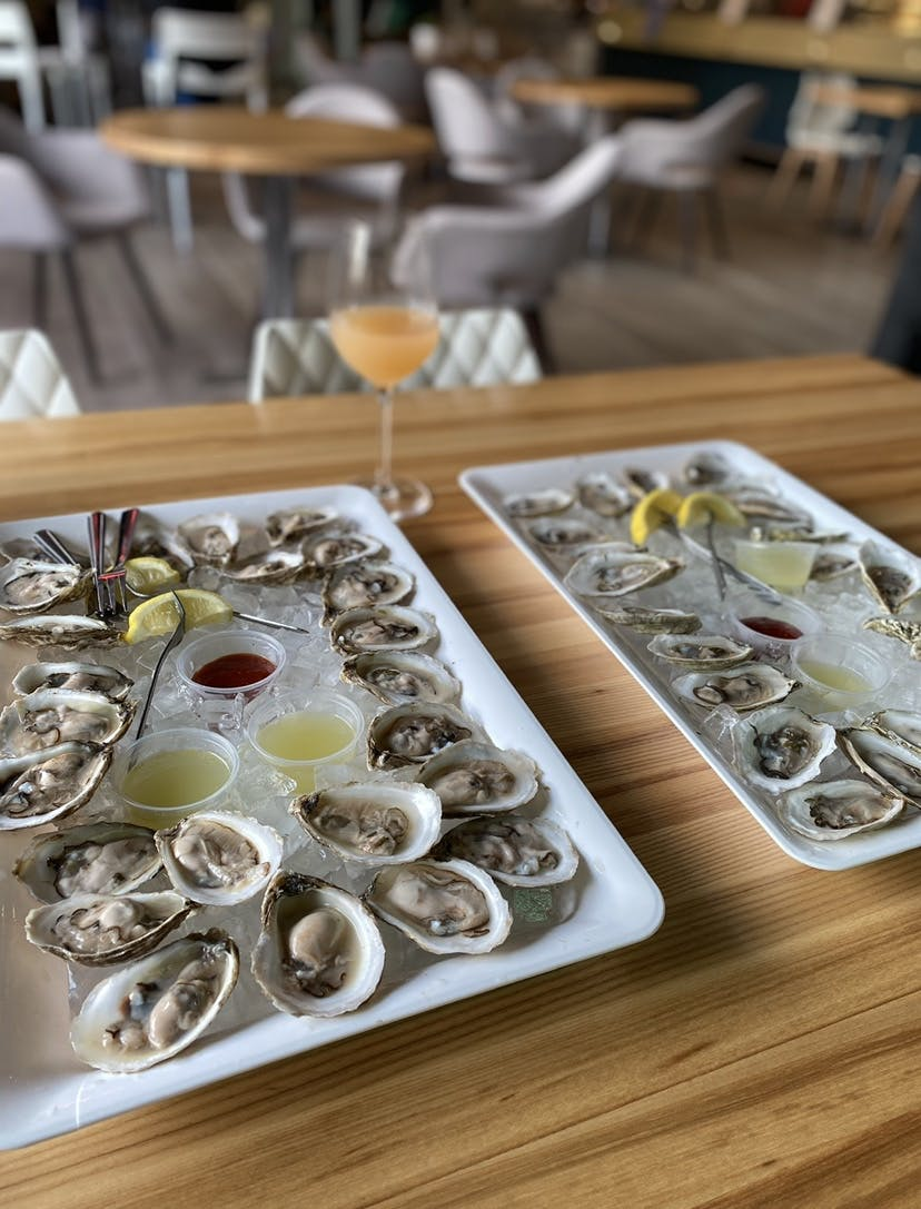 a tray of oysters