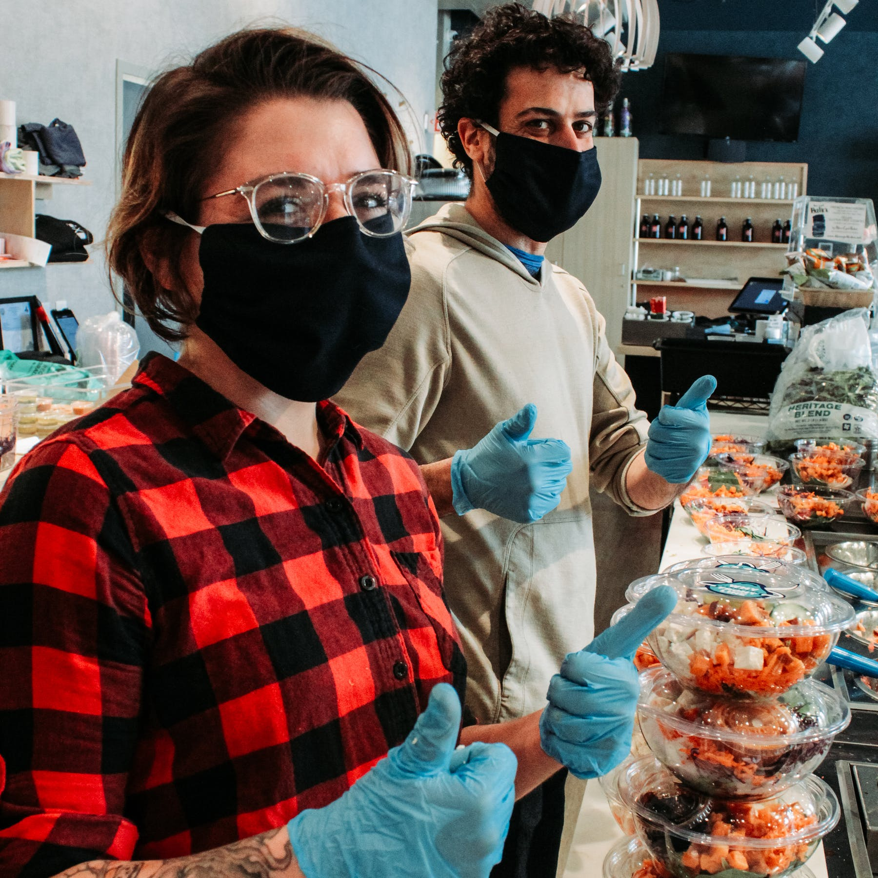 Employees wear mask and gloves to ensure your protection!
