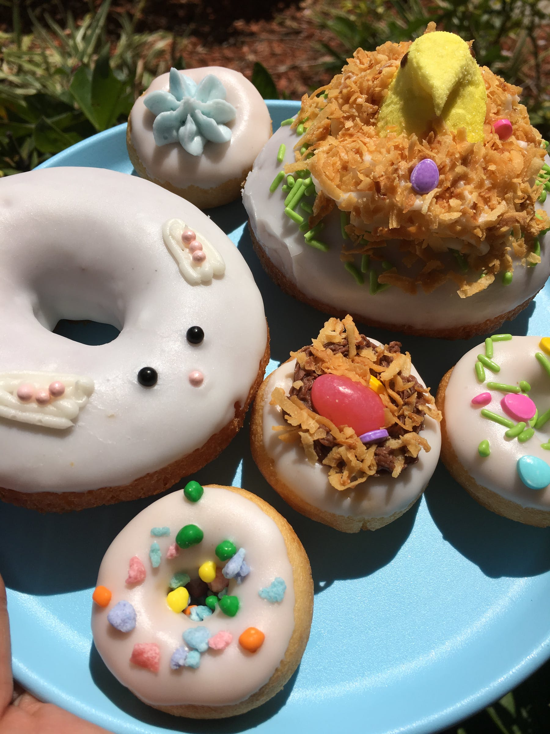 a close up of a doughnut on a plate
