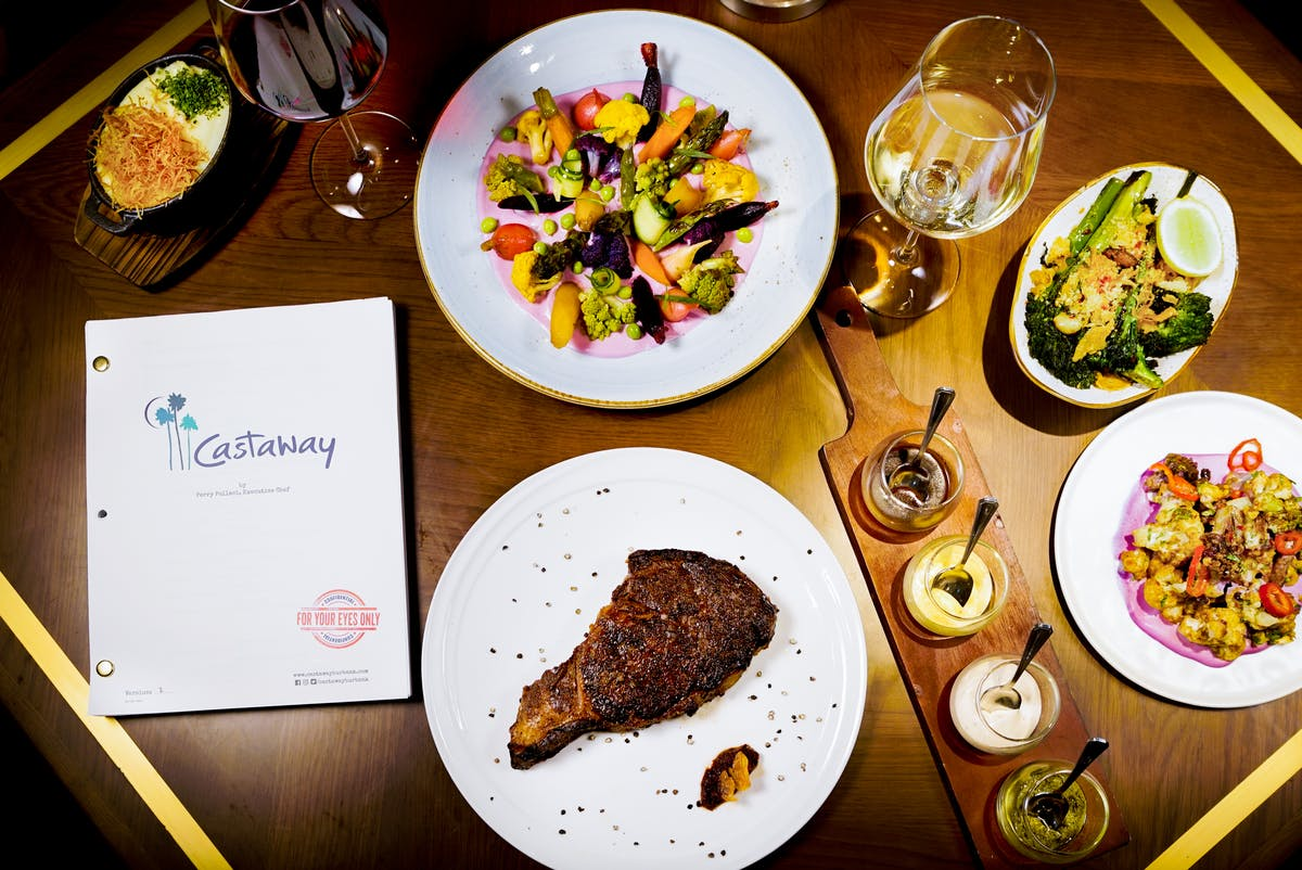 steak and other food at castaway