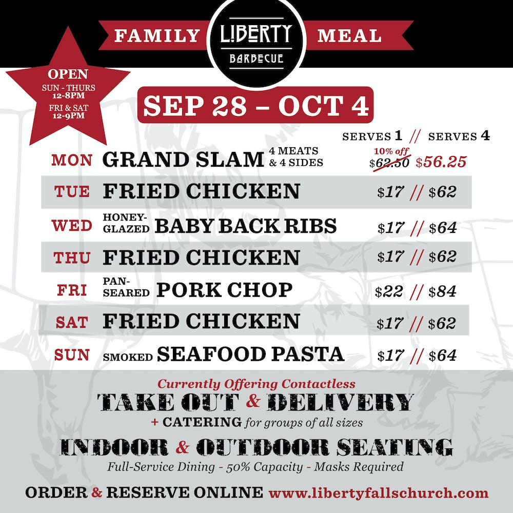 Liberty Barbecue Family Meal Calendar