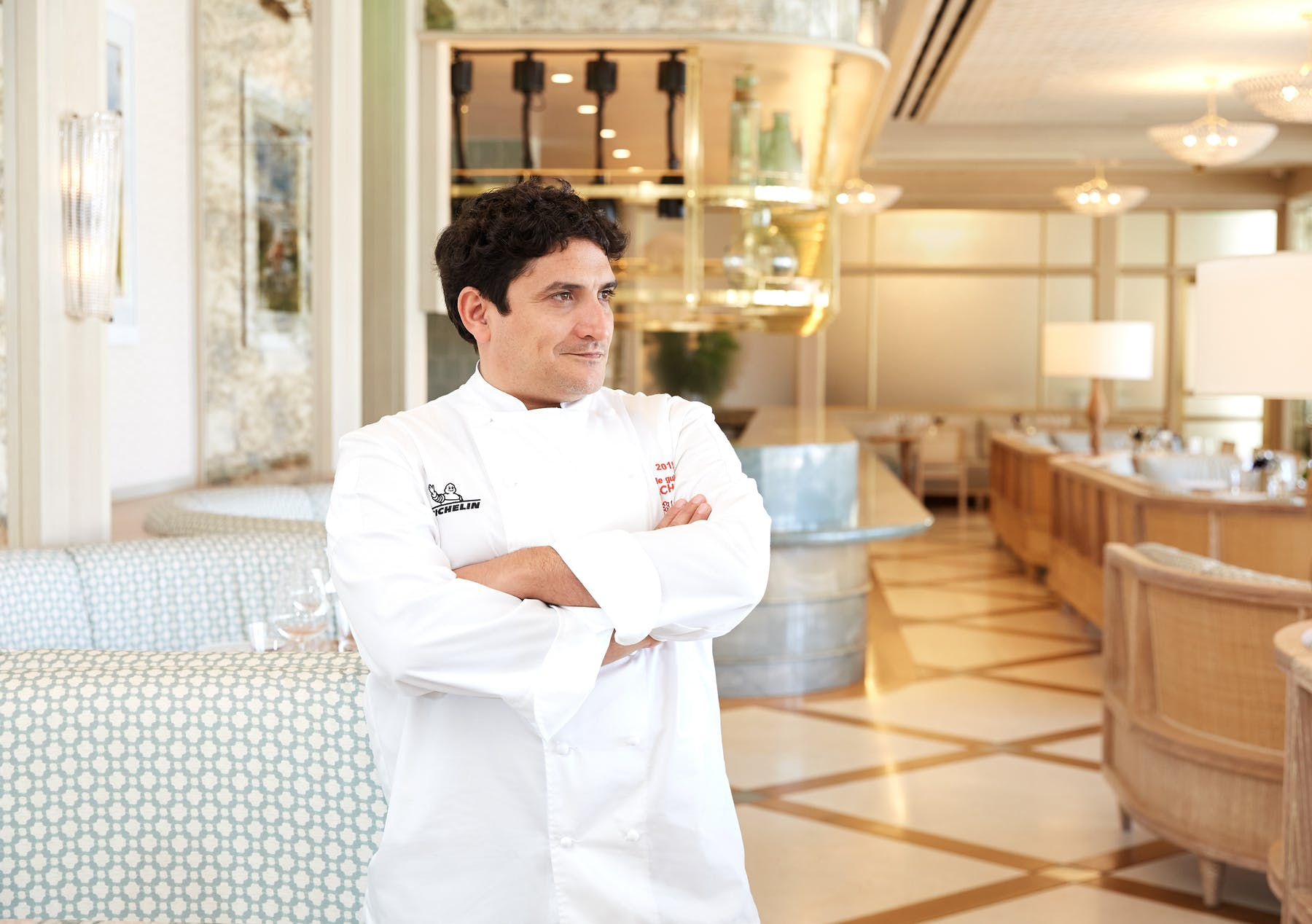 Mauro Colagreco standing in a kitchen