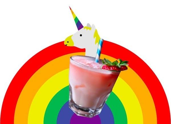 a drink on a rainbow