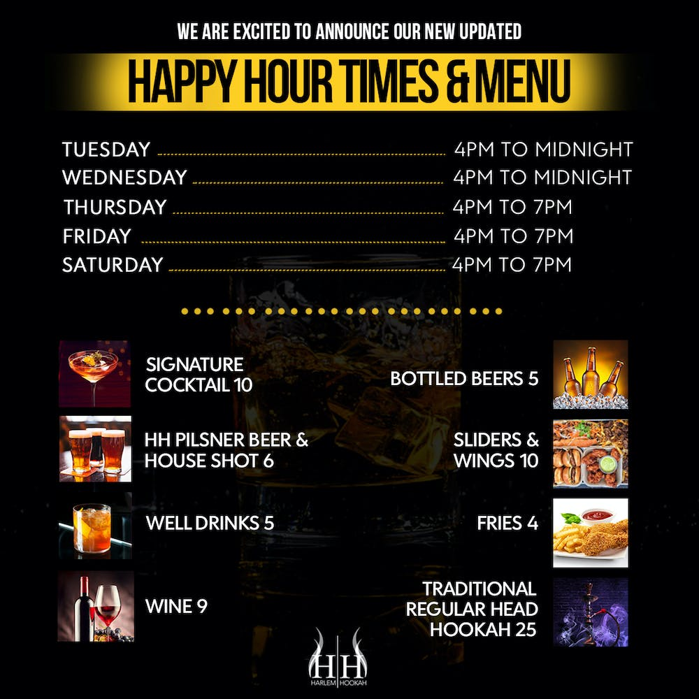 a graphic poster with a black background and white text with some pictures of drinks