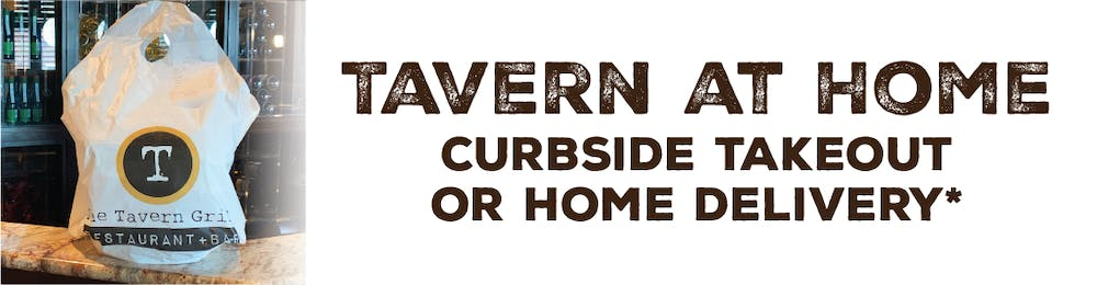 a tavern to go bag with big text next to it that says tavern at home then below it says curbside takeout or home delivery
