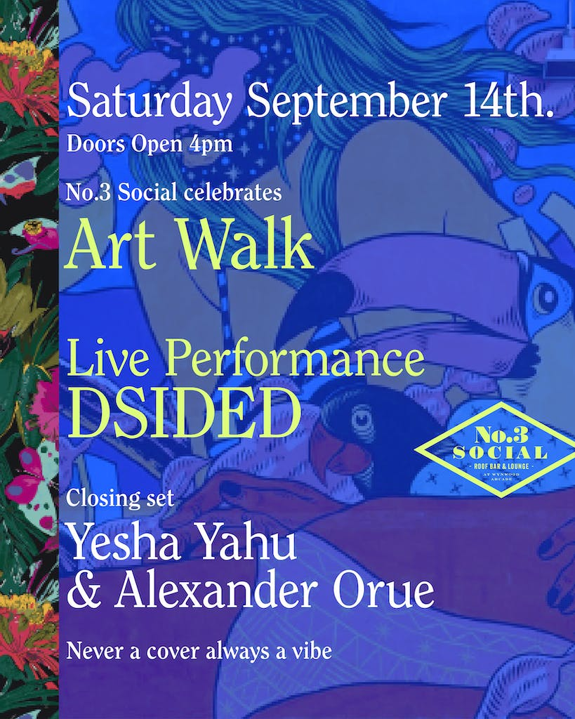 a close up of a flyer for Art Walk at No. 3 Social on Saturday September 14th