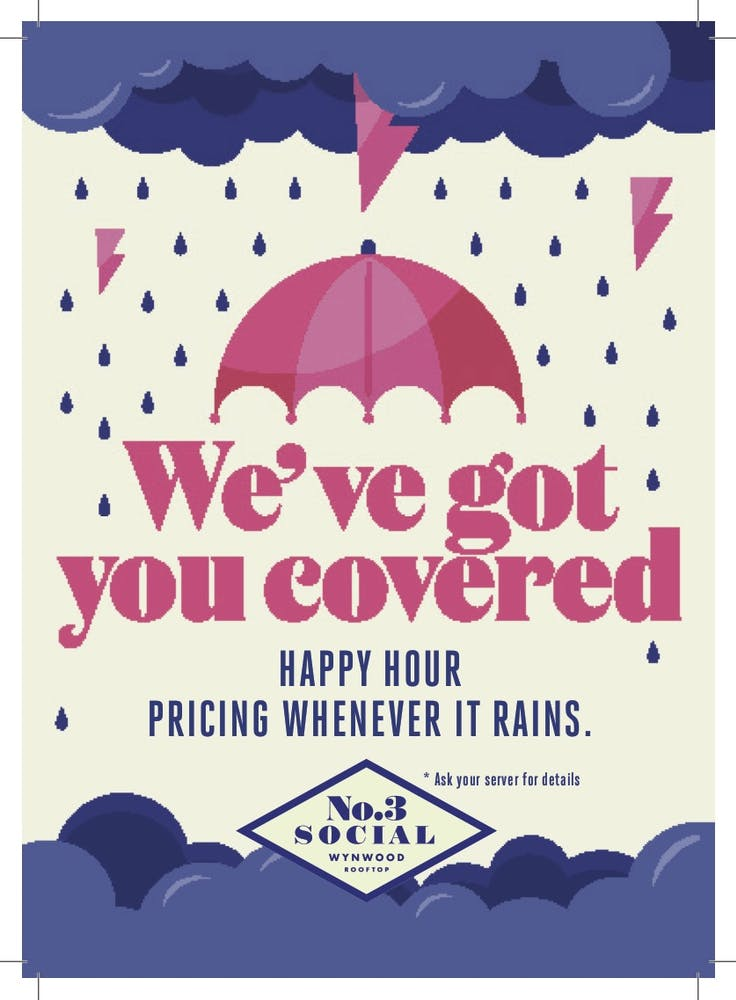 a close up of a flyer for Happy Hour Pricing Whenever It Rains.