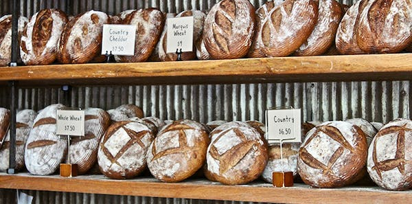 shelf with different types of bread