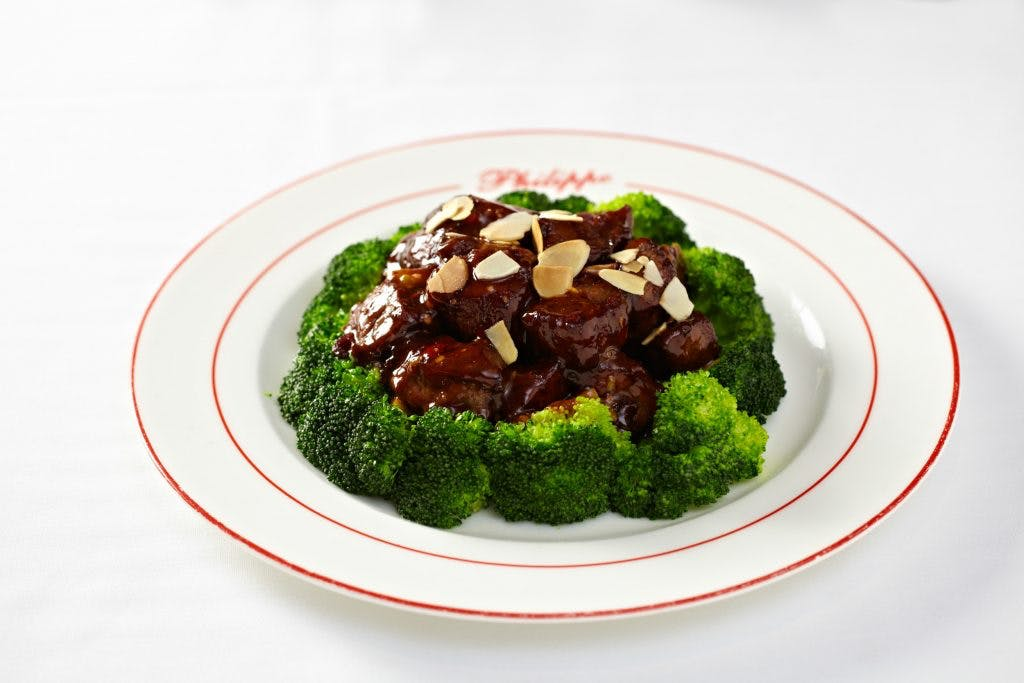 a plate of food with broccoli
