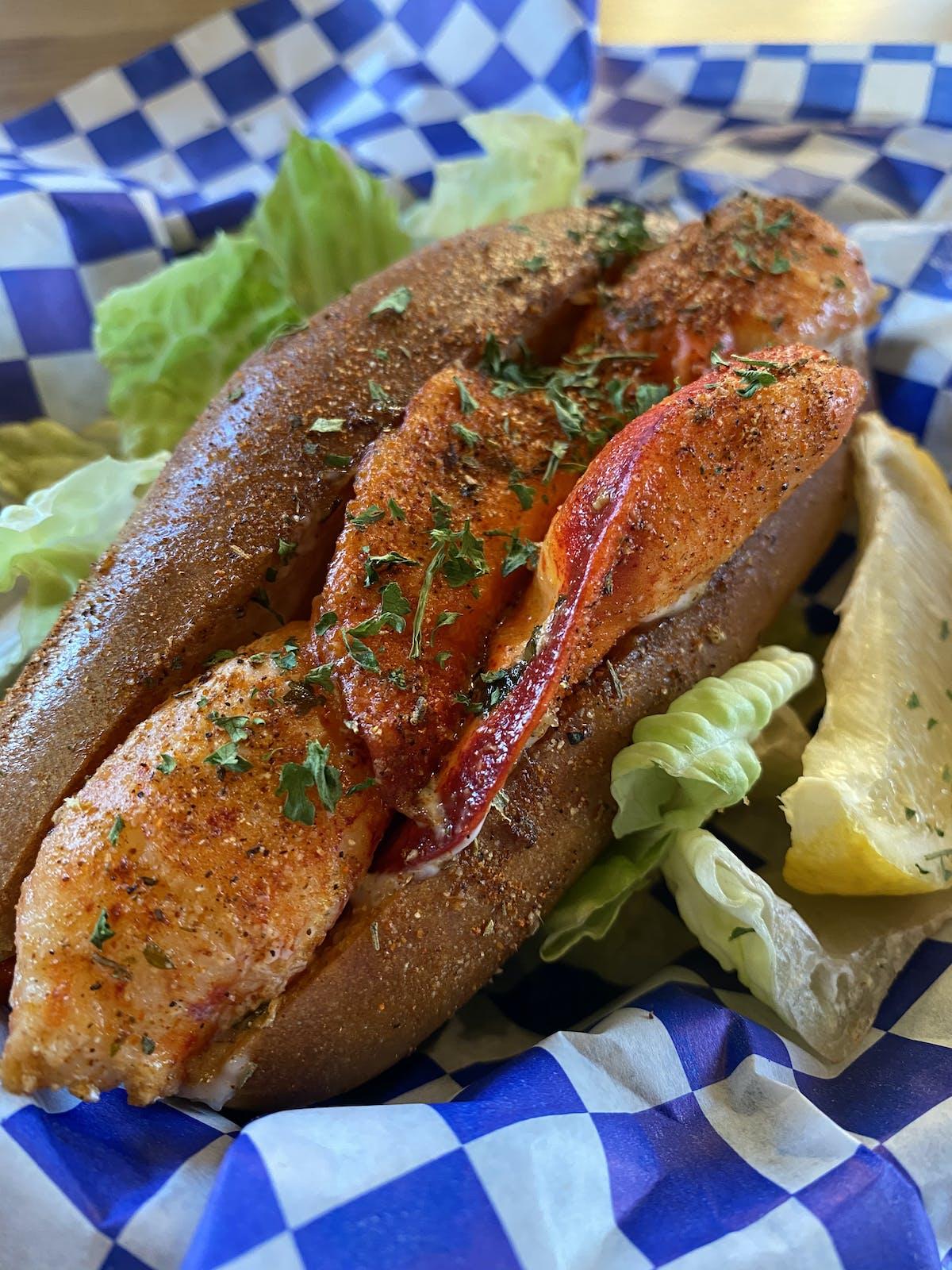 a sandwich on a blue plate