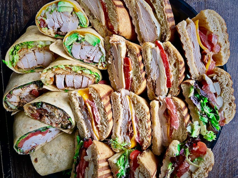 a close up of many different types of food