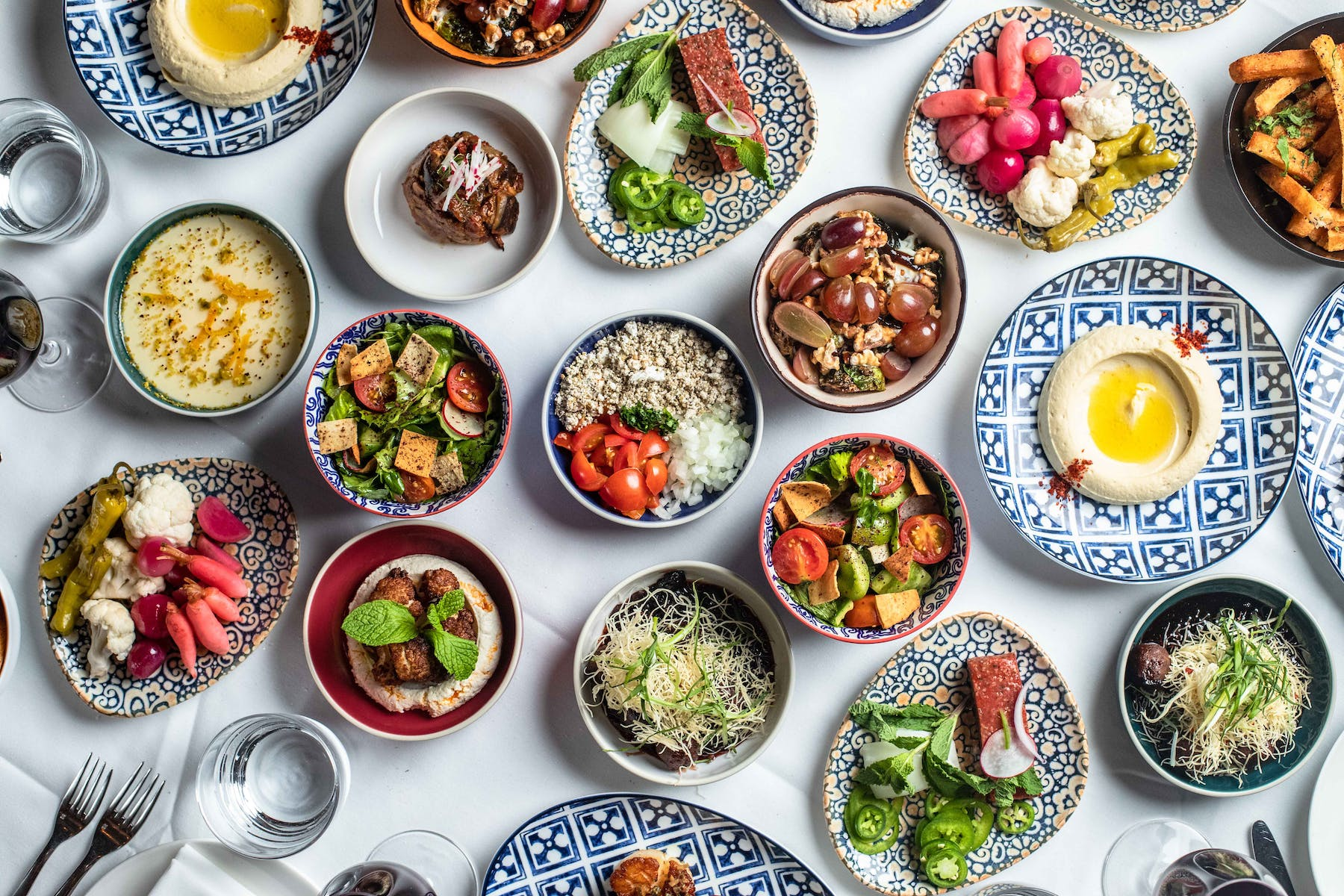 many different types of food on a plate