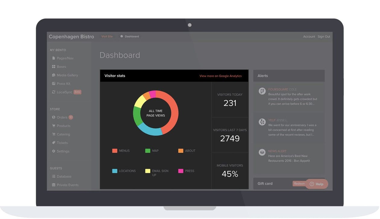 BentoBox platform's dashboard