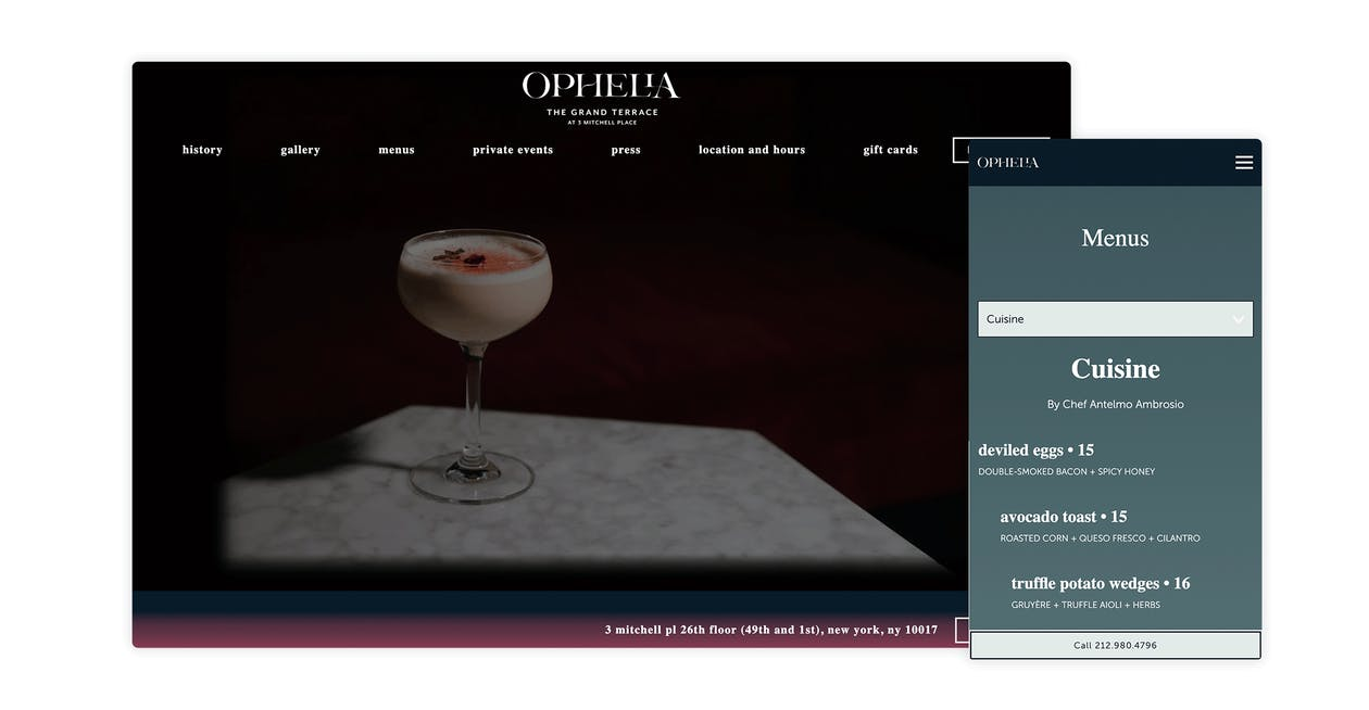 A screenshot of the website for Ophelia