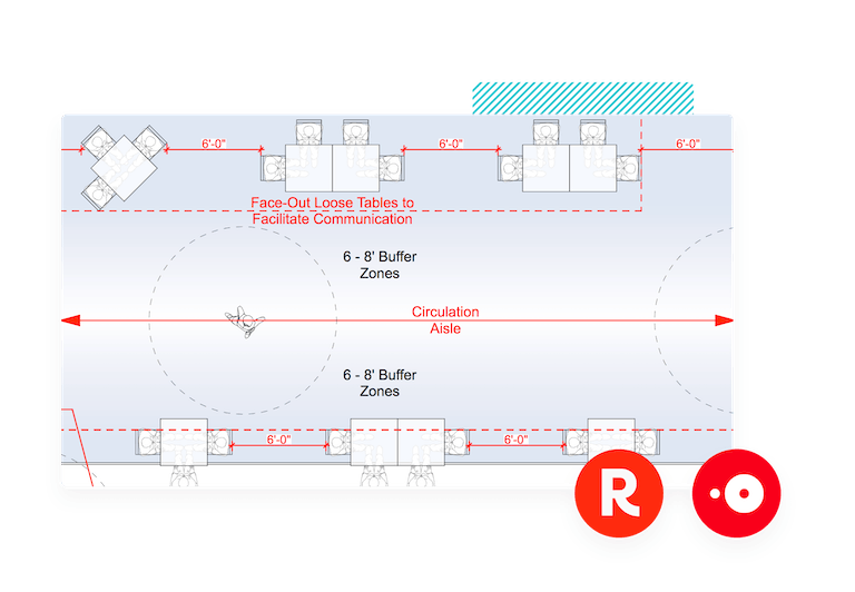An example floor plan with Resy and OpenTable logos
