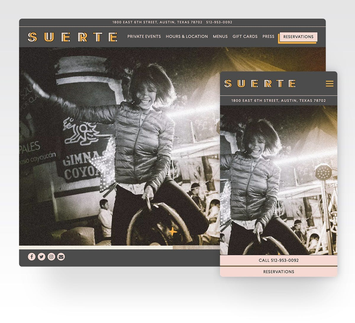 Screenshot of Suerte's website