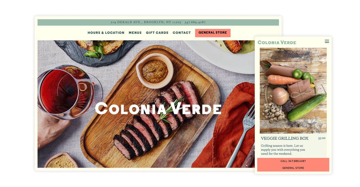 A screenshot of the website for Colonia Verde