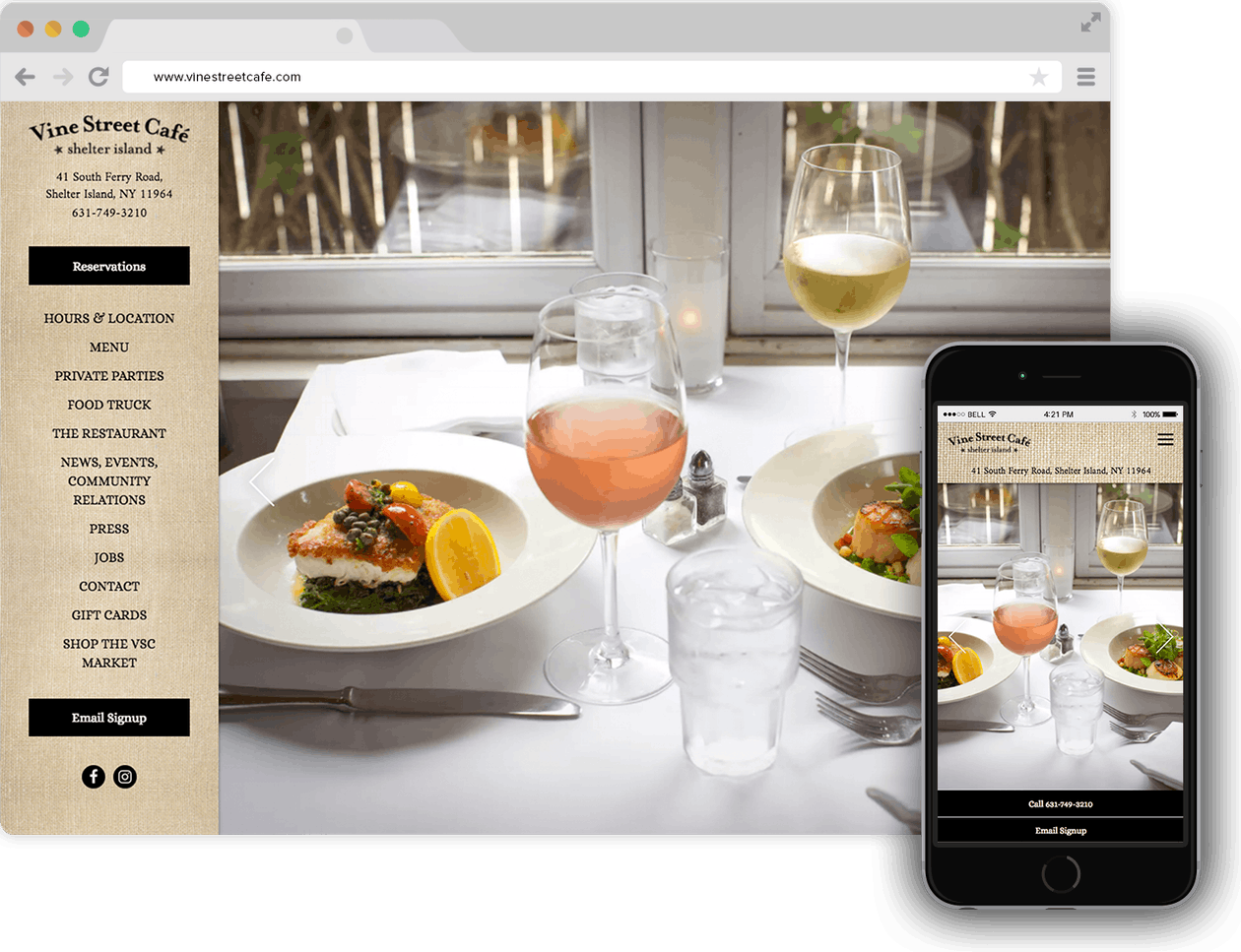 Vine Street Cafe homepage