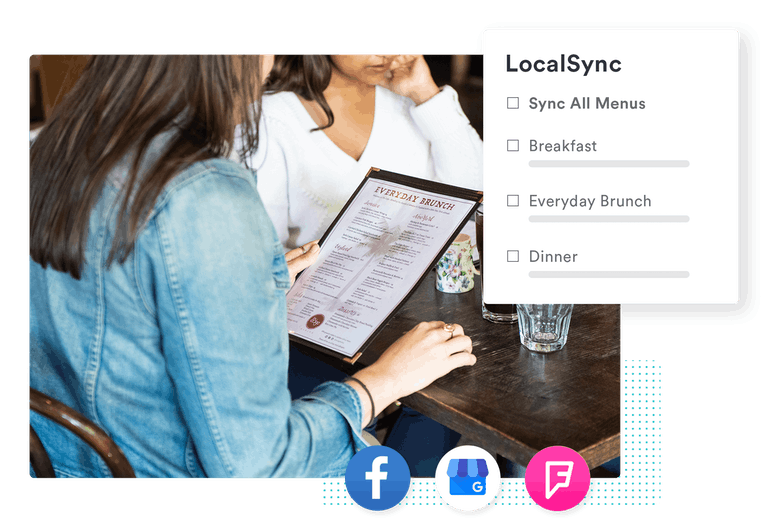 a customer reading a menu at a restaurant with an overlay of BentoBox location management