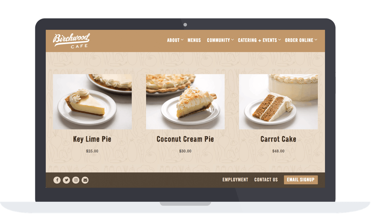 a screenshot of a catering store