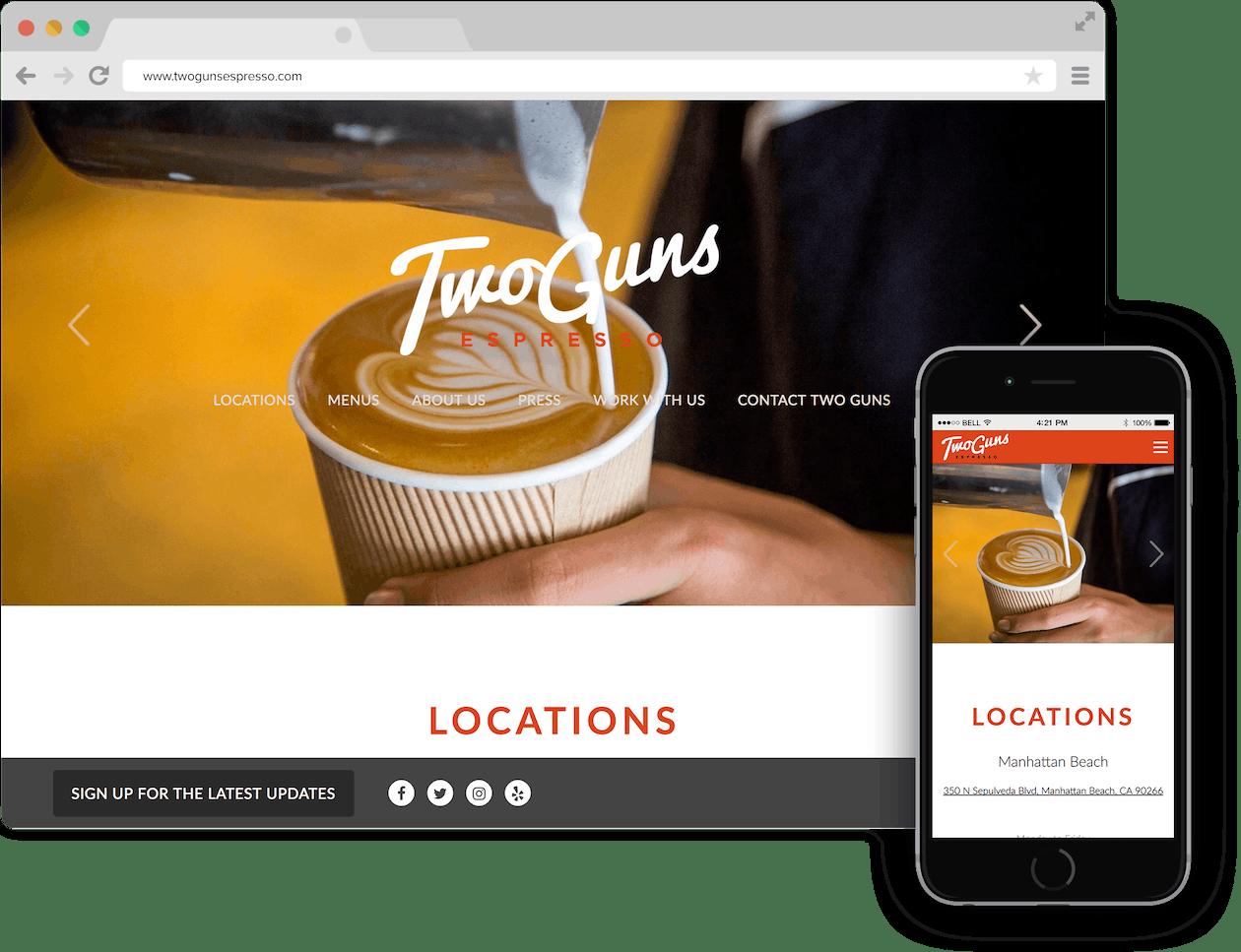 a screen shot of Two Guns Espresso website