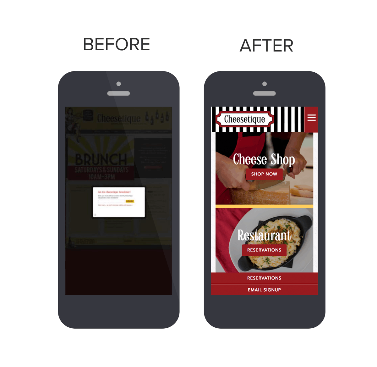 Before & After of Cheesetique's website in a mobile device