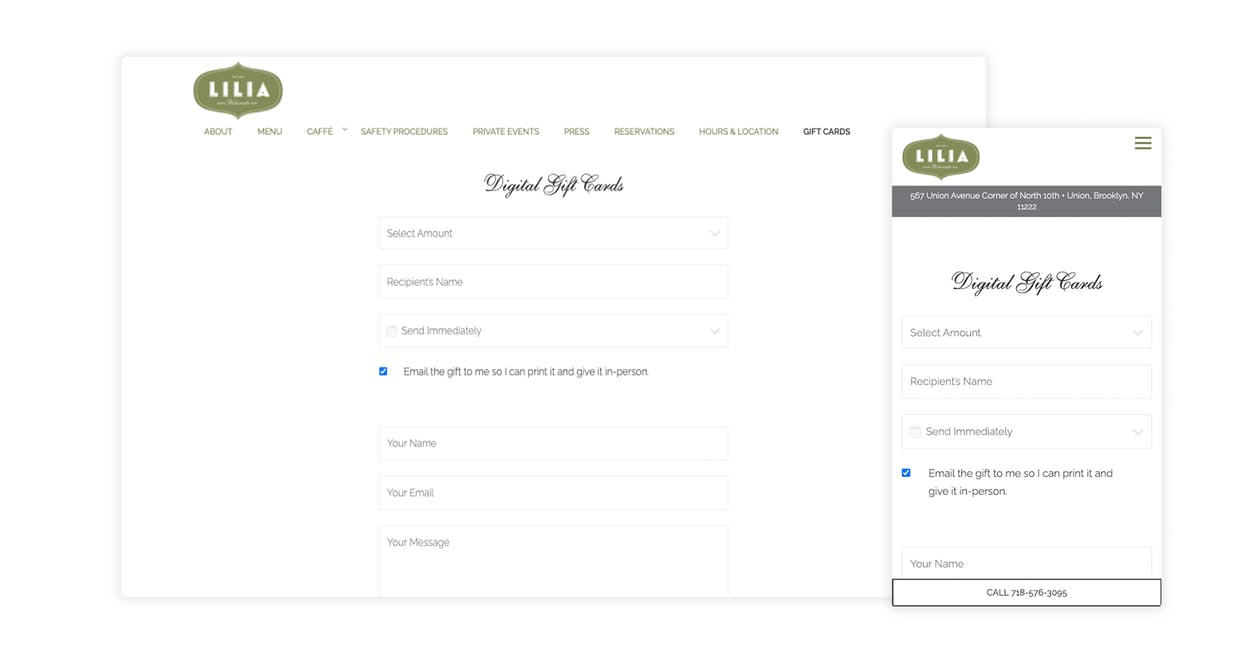 Lilia sells digital gift cards directly on their restaurant website