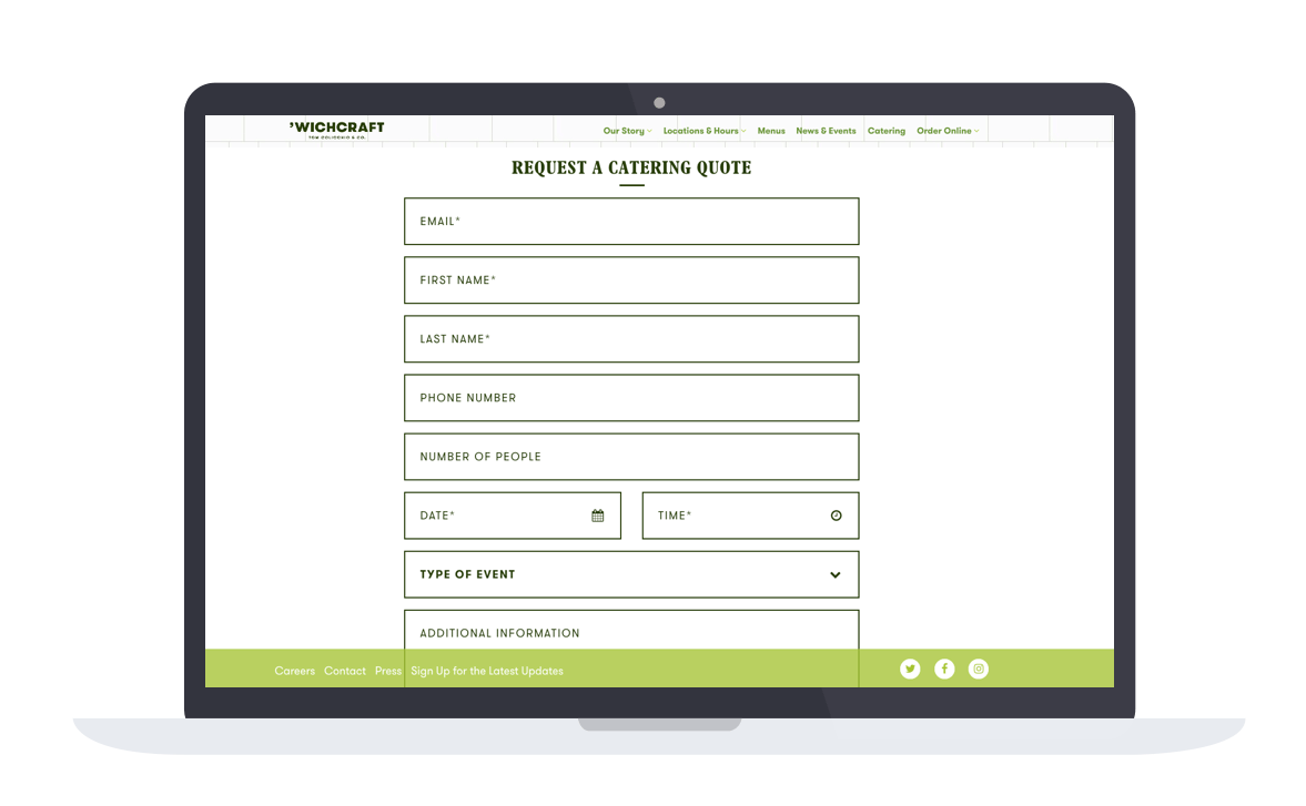 The catering inquiry form on 'Wichcraft's website.