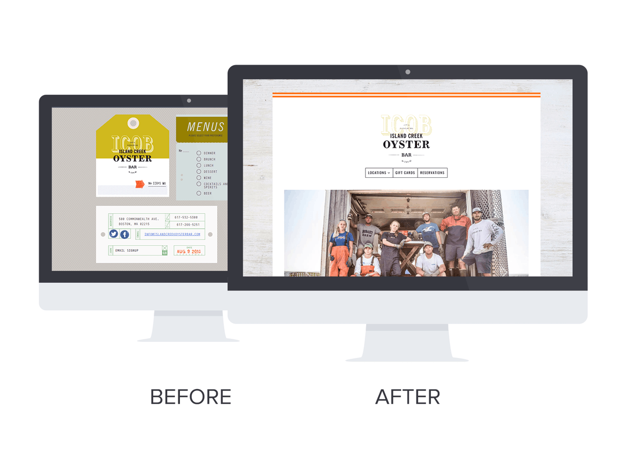 Before and after shots of Island Creek Oyster Bar's website