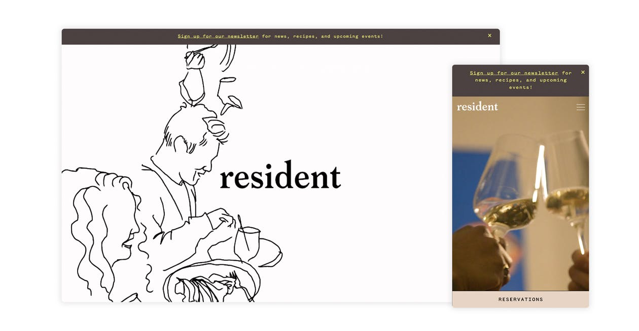a screenshot of the website for resident