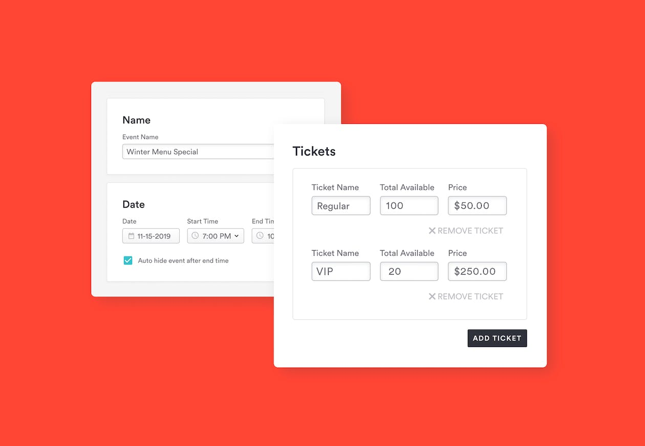 screenshot composition of BentoBox ticket management backend interface