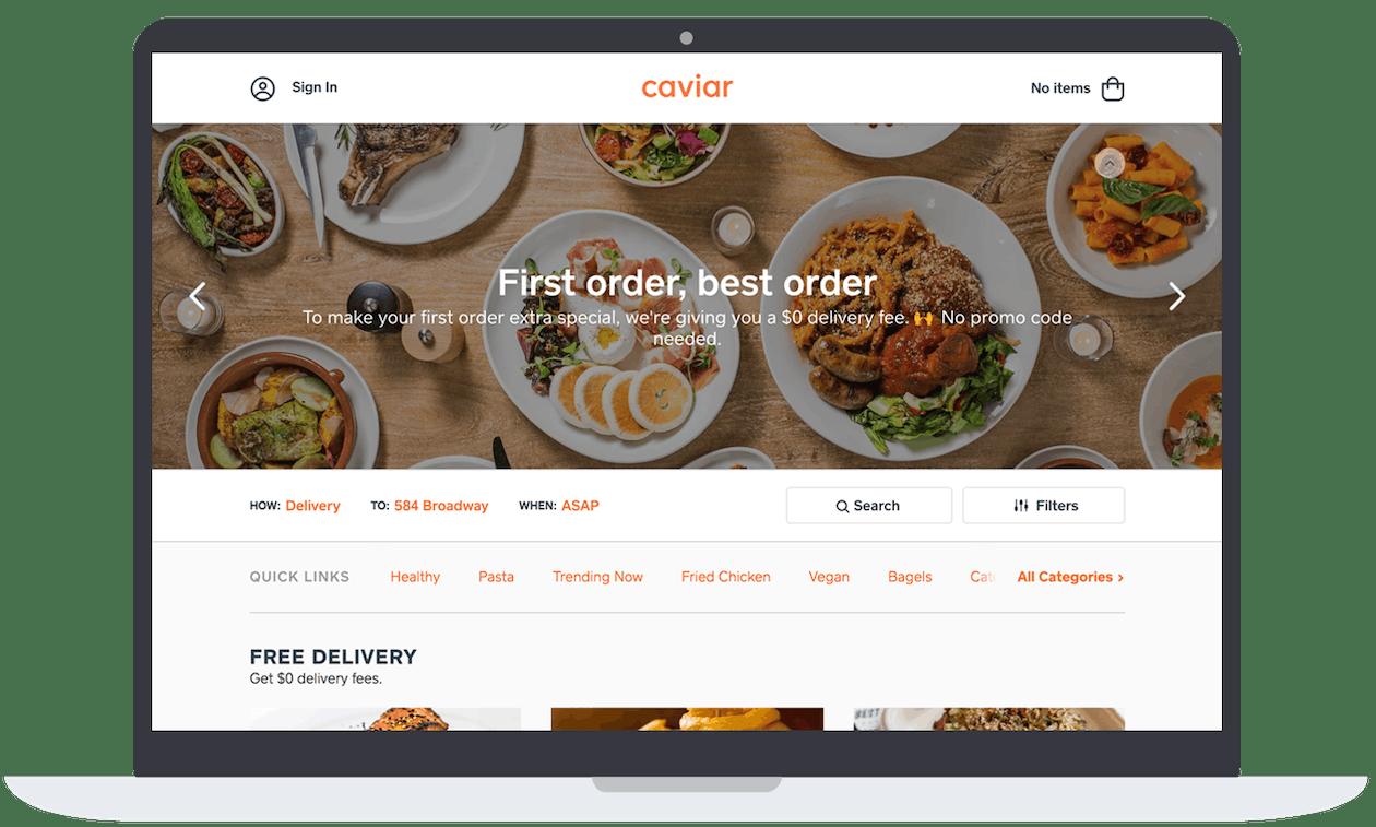 a screenshot of the Caviar marketplace