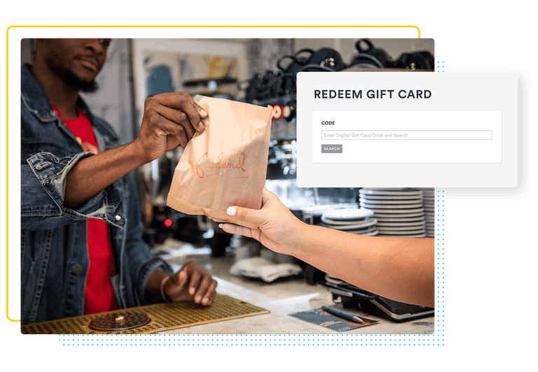 a composite image of a restaurant worker handing a guest a pastry with a backend screenshot of redeeming gift cards