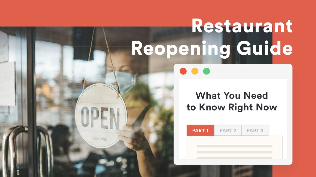 Image of a woman with an open sign and tex that says restaurant reopening guide
