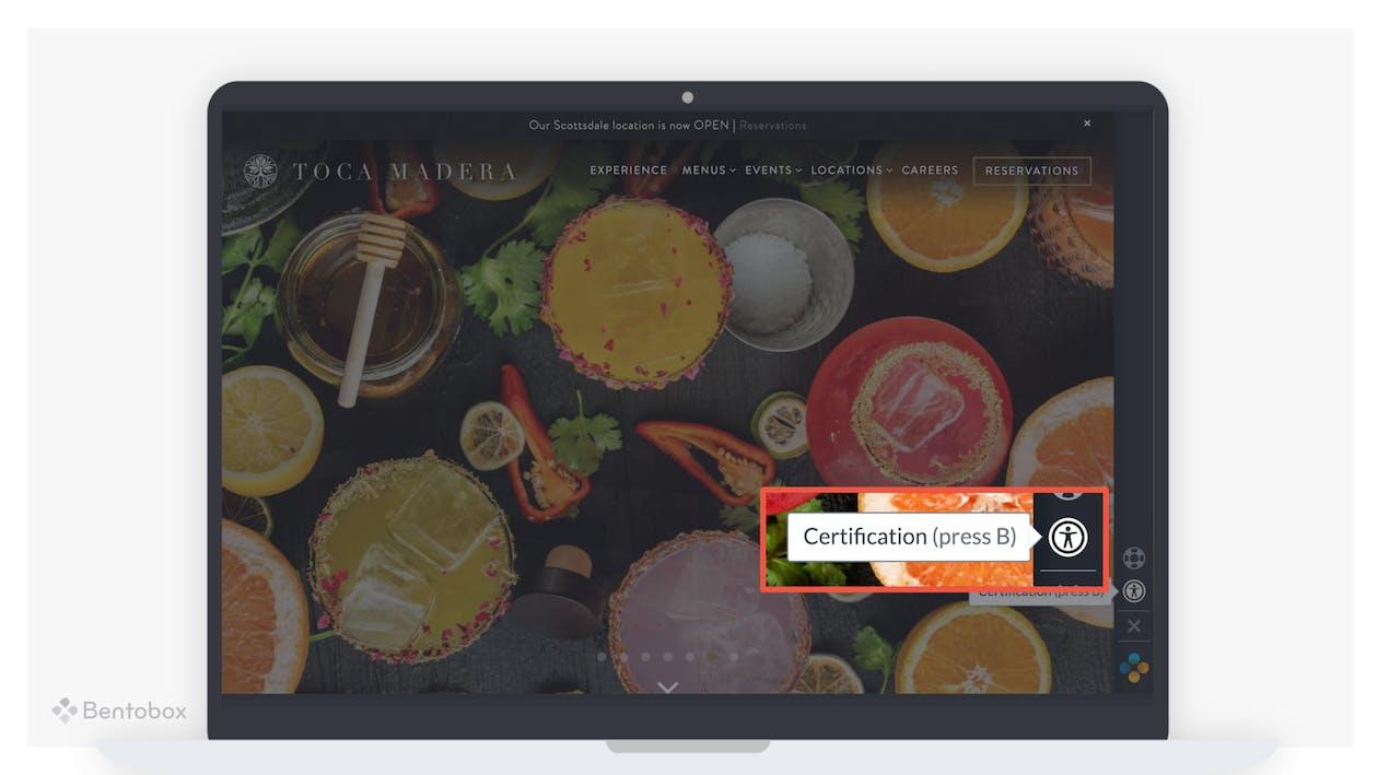 ADA certification on a restaurant website.
