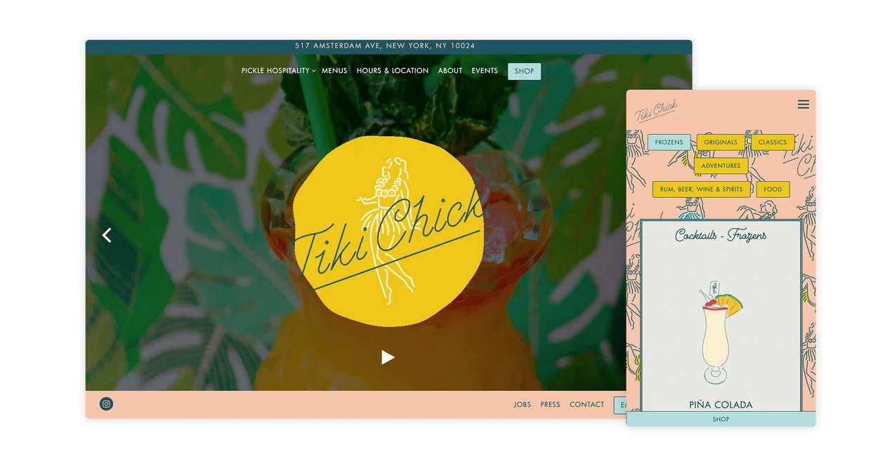 A screenshot of the website for Tiki Chick