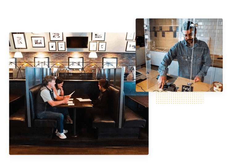 A family dining at a restaurant with booth partitions and an overlay of a cashier behind a plexiglass barrier