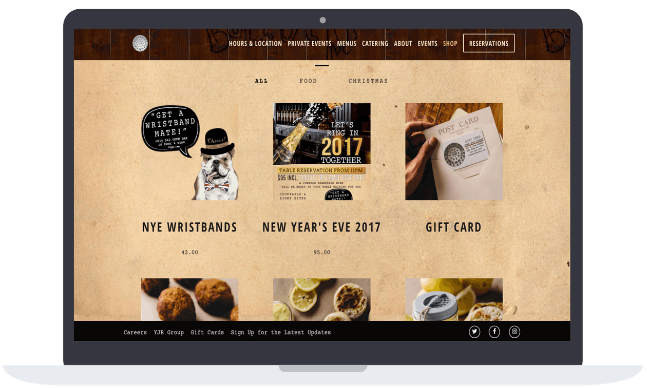 A screenshot of a restaurant website.