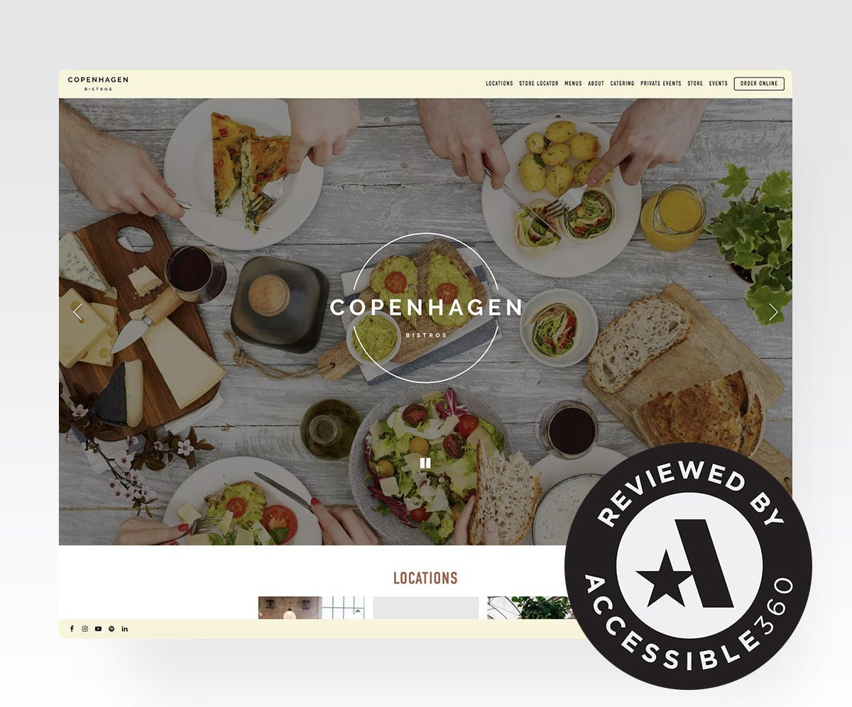 A screenshot of a restaurant website and certified accessible badge from A360.