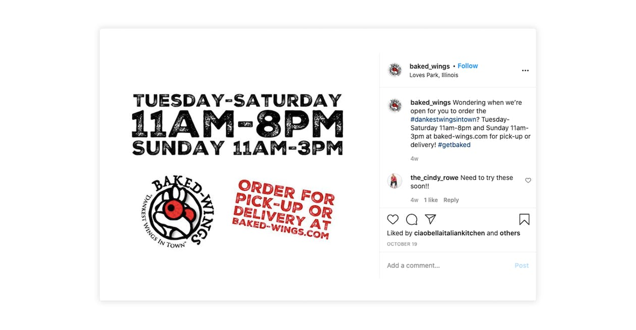 Baked Wings uses Instagram to drive traffic to their website to place online orders