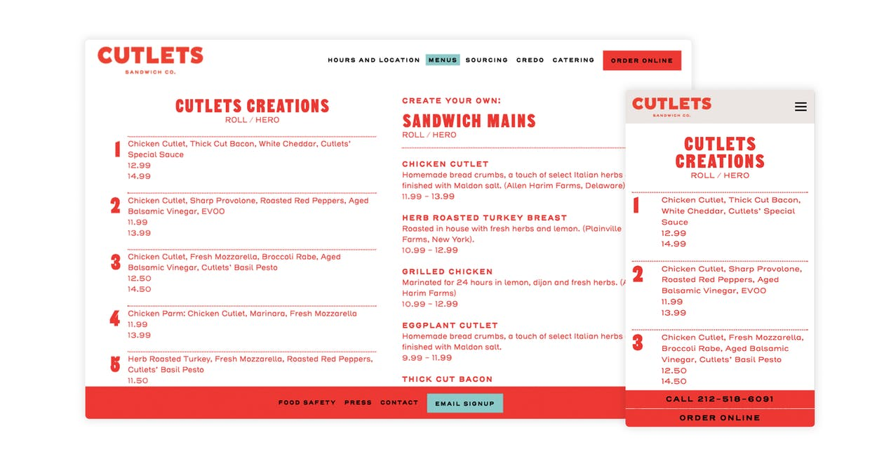 An example of a text-based menu on a website
