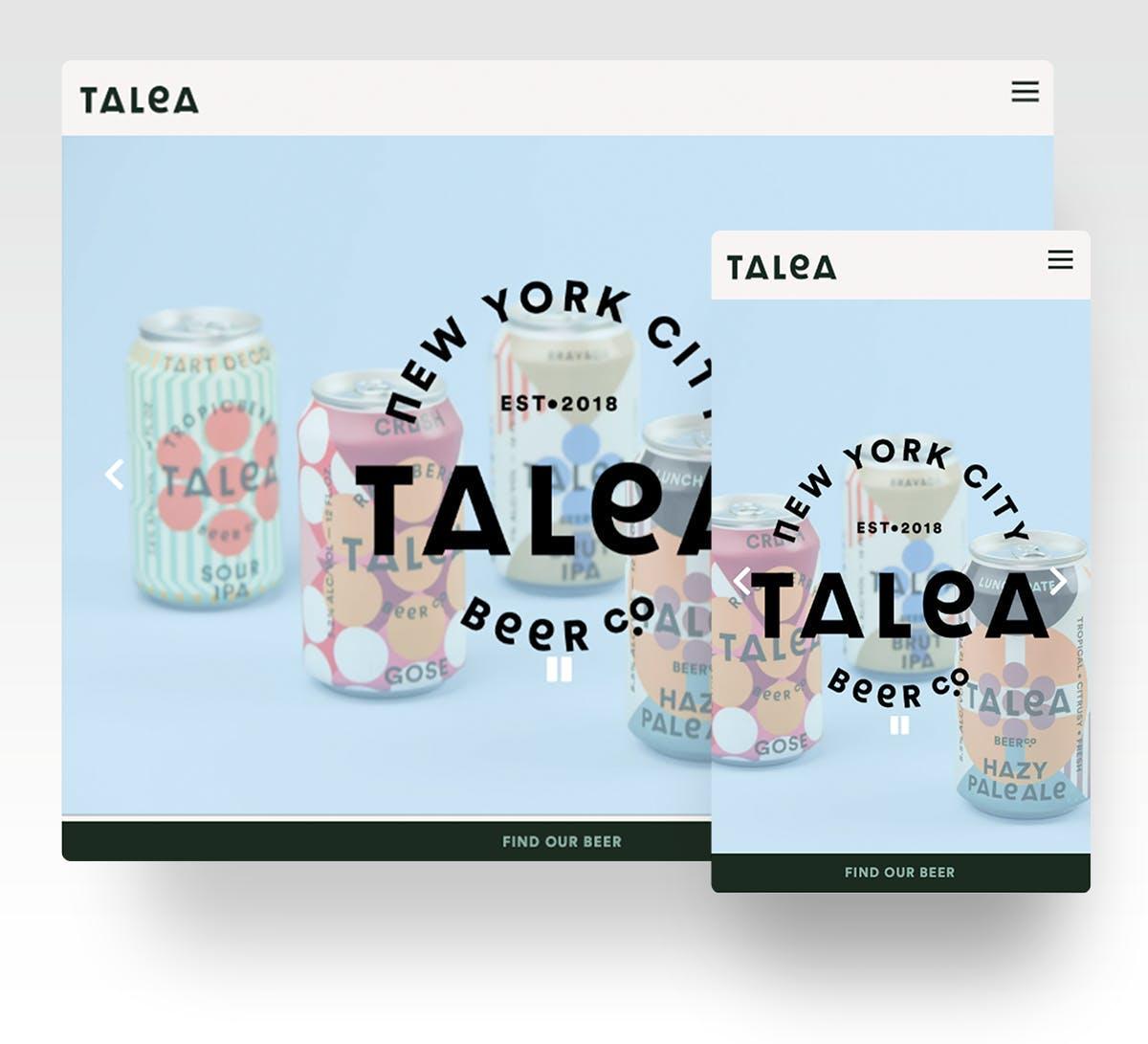 A screenshot of the website homepage of Talea Beer Co.